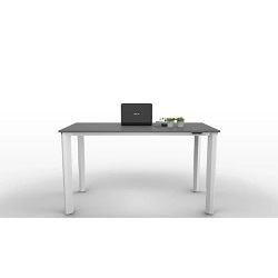Electric height adjustable desk with white legs and grey desktop