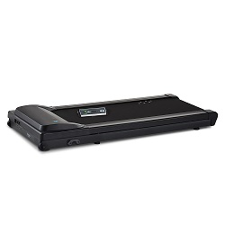 Full view of TR1200 DT3 under desk treadmill with black frame and belt plus console.