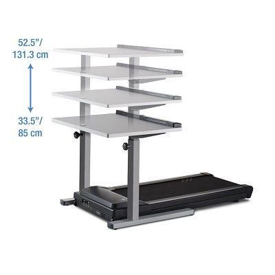 Walking treadmill with adjustable desk showing height levels levels op to 52.5 inches