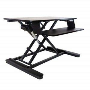 The Ergotech Freedom E Desk converter in black against a white background