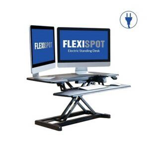 The Flexispot EM7 standing desk converter with dual monitors, keyboard and mouse