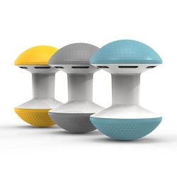 Three Humanscale Ballo chairs in yellow, gray and blue colours against a white background