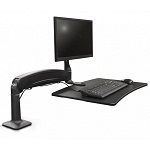 Black hovering standing desk converter with keyboard and single monitor