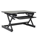 Black x-frame standing desk converter