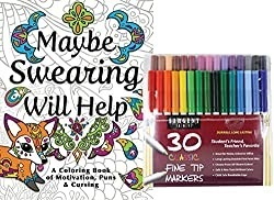 """Adult coloring book entitled """"Maybe Swearing Will Help"""" shown with pack of 30 pens"""