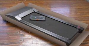 Walking treadmill with console pre assembled with open packaging