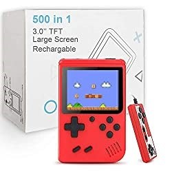Red large screen hand held games console with white packing box in background