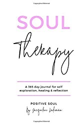 Cover of the Soul Therapy Journal in white with pink and black lettering against a white background