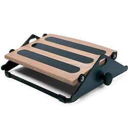 Wood and black metal footrest with tilt adjustment