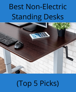 corner of standing desk featuring crank handle with title reading best non-electric standing desks
