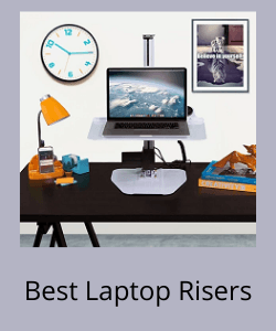 Laptop riser with desk lamp, clock and image in the background above text reading Best Laptop Risers