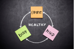 Sticky notes reading mind, body, spirit surrounding the word healthy