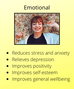 Woman smiling with text listing the emotional benefits of meditation