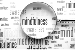 Word cloud with magnifying glass on the words mindfulness, awareness, meditation and sensations
