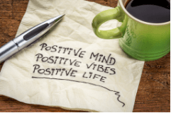 Napkin with writing on reading positive mind, positive vibes, positive life