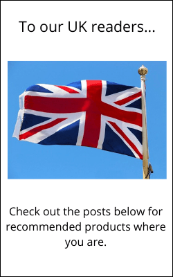 Union jack flag with text informing UK visitors to see below for recommended product posts
