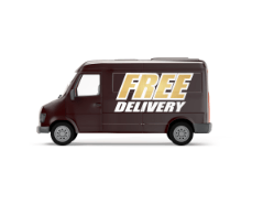 """Brown van with the words """"free delivery"""" written across the side"""