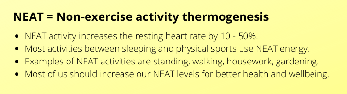 Yellow text box containing an overview of what NEAT is i.e. non-exercise activity thermogenesis