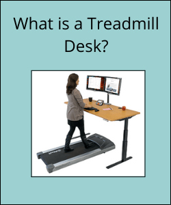 """Woman walking on treadmill whilst working at a desk with text reading """"What is a Treadmill Desk"""""""
