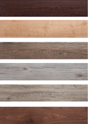 6 strips of laminated wood with different color finishes