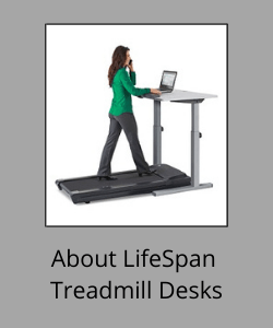 """Woman walking and working at laptop above text reading """"About LifeSpan Treadmill Desks"""""""
