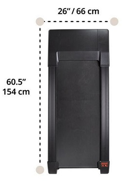 Width and length measurements of the TR800 DT3 treadmill base unit