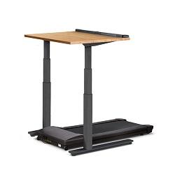 Walking workstation with wood effect desktop, grey frame and black base