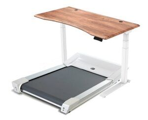 Unsit Treadmill paired with standing desk featuring teak top and white frame