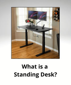 """iMovR Zipdesk with text underneath reading """"What is a Standing Desk"""""""