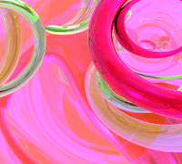 Pink, white and green swirls form abstract art