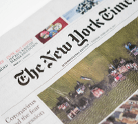 Front page of the New York Times newspaper