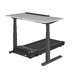 Treadmill desk with black base and electric height adjustment