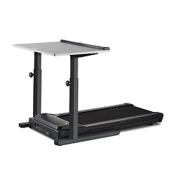 Treadmill desk with black base and manual height adjustment
