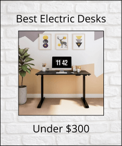 """Electrid standing desk in center with text reading """"Best Electric Desks Under $300"""""""