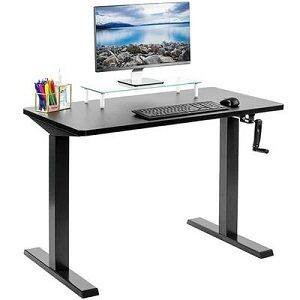 Black crank adjusting standing desk with keyboard, mouse, monitor and pen pot