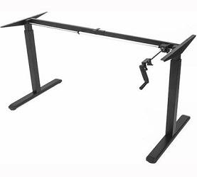 Manually adjusting desk base with crank