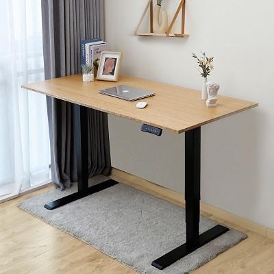 Adjustable standing desk with light wood top and black frame