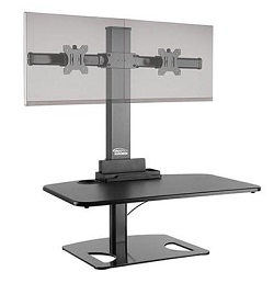 Ergotech post and base desk converter with dual monitor supports