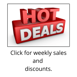 """Red and white lettering informing the reader of hot deals above text reading """"Click for weekly sales and discounts"""""""