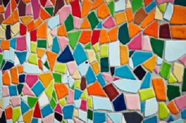 Abstract mosaic of multi-color tiles