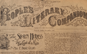 """Old newspaper with the heading """"People's Literary Companion"""""""