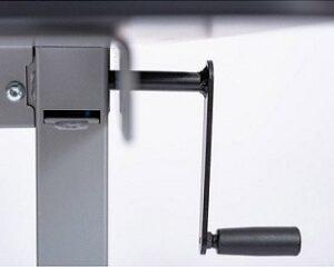 Black side crank handle on a grey standing desk frame