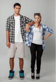 Man and woman standing next to each other emphasizing height differences