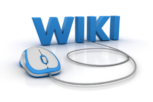 Blue Wiki lettering with a mouse attached