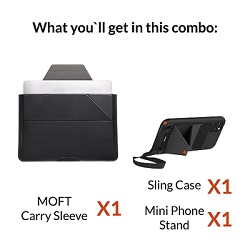 MOFT carry sleeve for tablet or laptop along with mobile phone case and stand