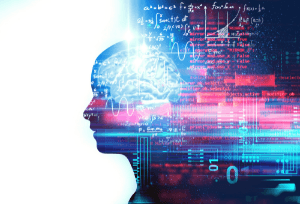 Profile of head and face revealing image of brain plus calculations and mathematical formulas