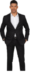 Tall man standing wearing a black suit and white shirt