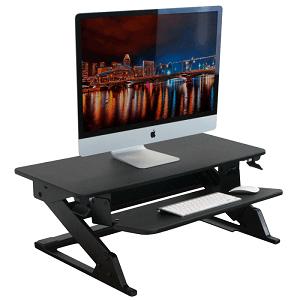 Black manual adjusting standing desk converter