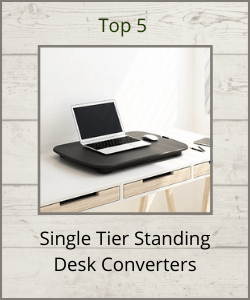 """FlexiSpot ML2 single tier riser with title text reading """"Top 5 Single Tier Standing Desk Converters"""""""