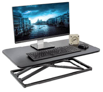 Single tier desk riser by VIVO with monitor, keyboard, mouse and clock